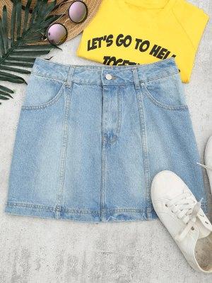 Bleach Wash Denim A Line Skirt - Denim Blue 28