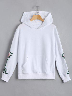 Floral Patched Front Pocket Hoodie