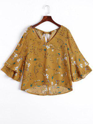 Tiered Flare Sleeve Floral Blouse - Floral M