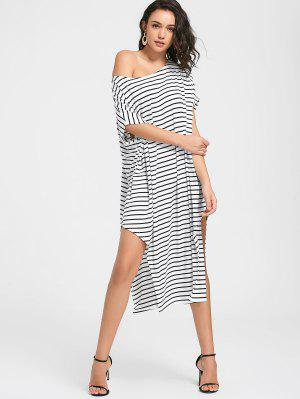 Side Slit One Shoulder Striped Dress - White 2xl