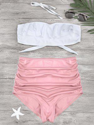 Bikini Con Cintura Alta En Volantes - Rosa L
