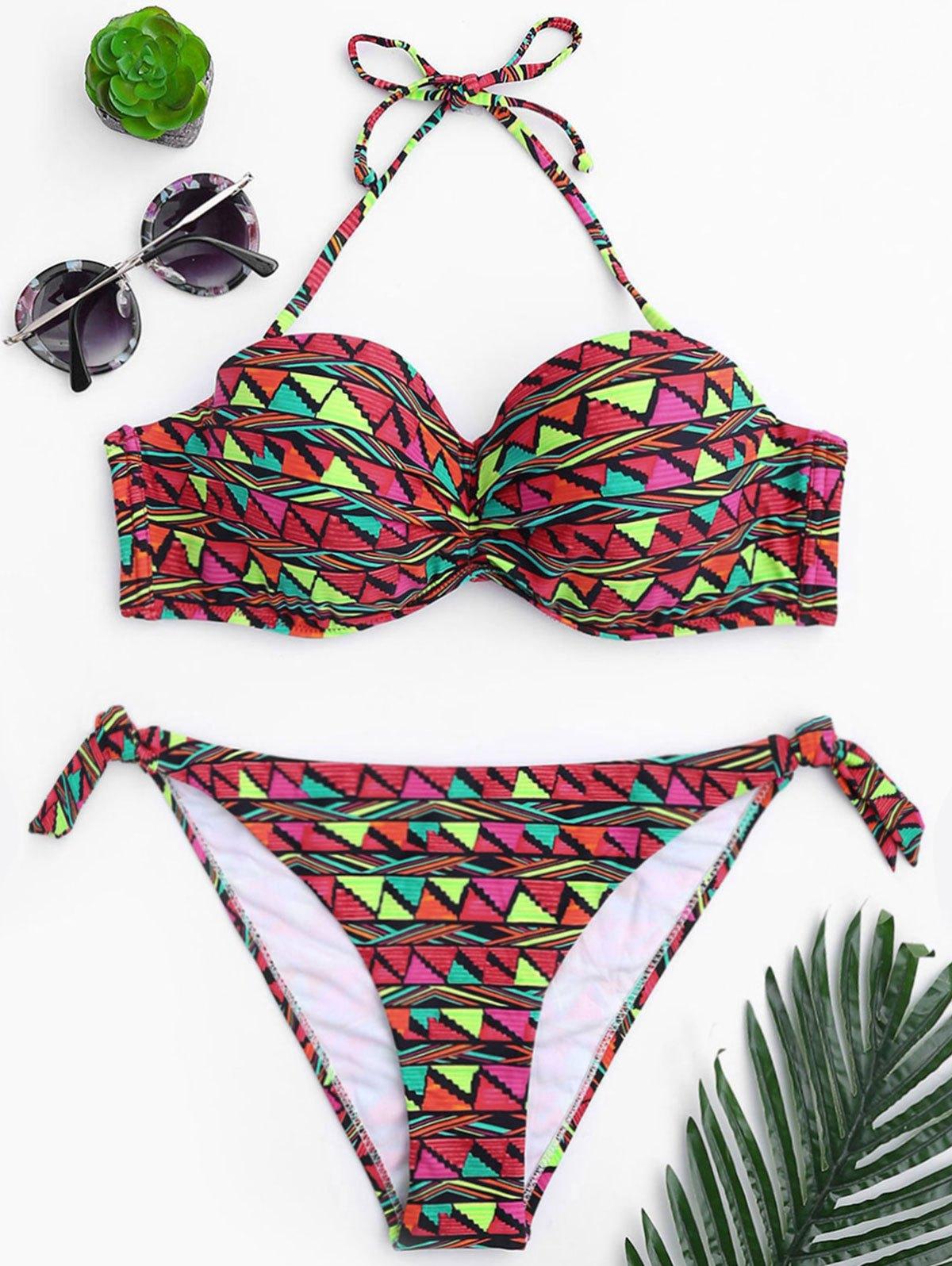 Geo Print Underwire Fuller Bust Bikini Set 220095102