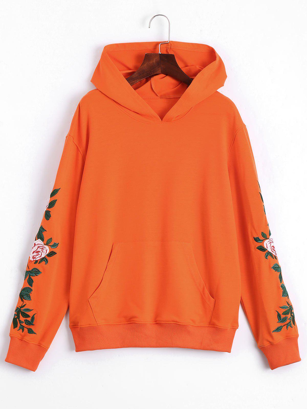 Floral Patched Front Pocket Hoodie - Orange M