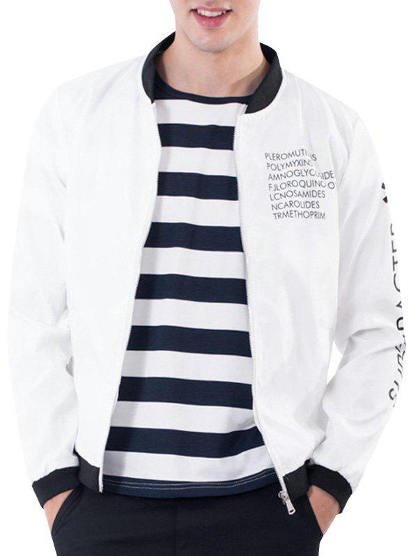 Rib Stand Collar Zip Up Graphic Print Jacket 220252508