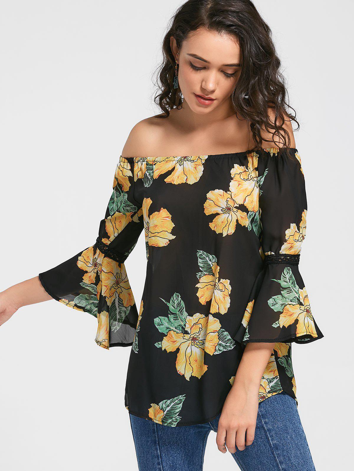 Flare Hlse Blumen aus der Schulter Bluse