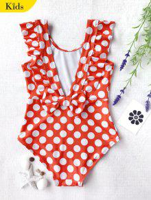 Polka Dot Ruffle Kids One Piece Swimsuit - White And Red 4t