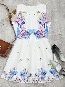 الطيور الزهور طباعة البسيطة متوهج اللباس - أبيض Xl