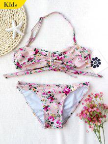 Drawstring Tiny Floral Ruched Kid Bikini - Floral 7t