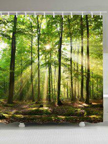 أشعة الشمس الغابات شجرة ماء دش الستار - أخضر W71 بوصة * L71 بوصة
