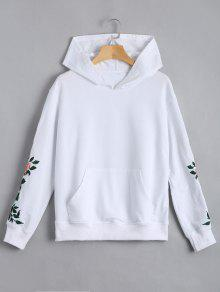 Floral Patched Front Pocket Hoodie - White M