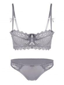 Embroidered Sheer Underwire Bra Set - Gray 70a