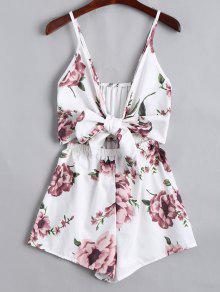 Floral Print Plunge Cami Romper - Floral S