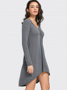 Button Embellished High Low Dress - Gray Xl