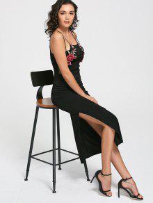 فستان كامي انقسام شبكي مرقع بالأزهار - أسود