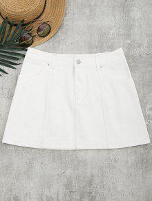 Bleach Wash Denim A Line Skirt - White 29