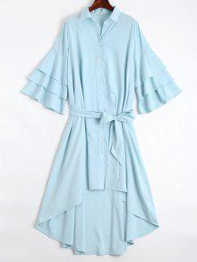 Button Up Belted Flare Sleeve Dress - Light Blue Xl