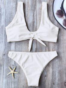 Knotted Scoop Bikini Top And Bottoms - White M