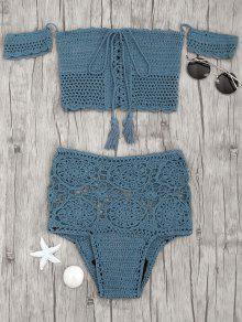 Off Shoulder High Waisted Crochet Bikini - Peacock Blue S