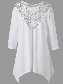 Plus Size Taschentuch Lace Panel Drop Schulter Top - Weiß 4xl