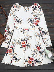 Floral Long Sleeve Skater Dress - White M