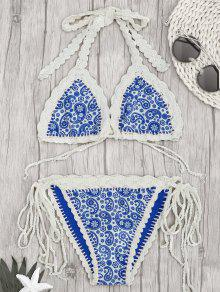 Paisley Halter Bralette Crochet String Bathing Suit - Blue S