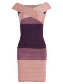 فستان الضمادة مخطط كاب الأكمام كتلة اللون - زهري