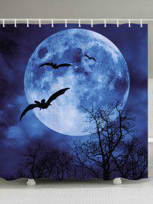 هالوين القمر بات طباعة ماء حمام دش الستار - أزرق W59 بوصة * L71 بوصة