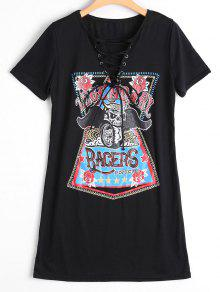 Lace Up Skull Letter Print Shift Dress - Black L