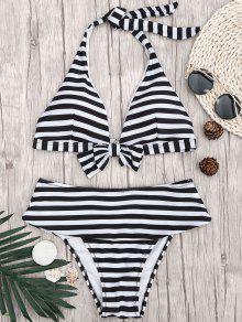 Halter Striped Bikini Top And Bottoms - White And Black L