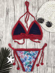 c534233ac8bd2 2018 Leaf Bralette Scalloped Crochet String Bikini In RED L