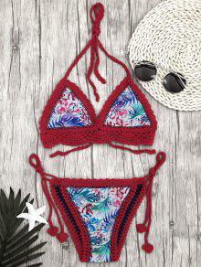 Bikini à Cordes à Crochet Scalé à La Feuille Bralette à Feuilles - Rouge S