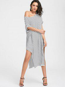 Side Slit One Shoulder Striped Dress - White 2xl
