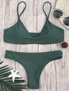 Correa Ajustable Acolchada De Bikini Bralette - Verde Cazador M