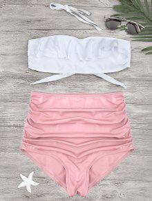 Ruched Ruffles Bandeau High Waisted Bikini - Pink S
