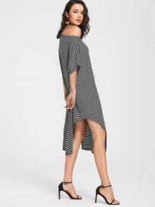 Side Slit Skew Neck Striped Dress - Black M