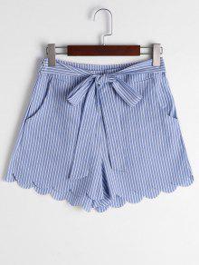 Scalloped Hem Bowknot Striped Shorts - Blue Stripe L