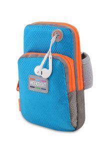 Color Block Running Arm Bag - Blue