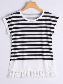 Tassels Embellished Striped Tee - Stripe Xl