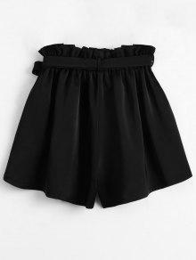 Smocked Belted High Waisted Shorts BLACK: Shorts ONE SIZE | ZAFUL