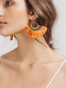 Ethnic Braid Circle Tassel Hook Earrings - Orange