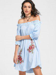 Floral Patched Ruffled Off The Shoulder Dress - Light Blue M