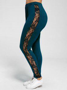 Plus Size Lace Insert Sheer Leggings - Peacock Blue Xl