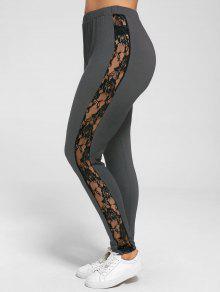 Plus Size Lace Insert Sheer Leggings - Deep Gray 3xl