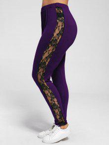 Plus Size Lace Insert Sheer Leggings - Purple Xl