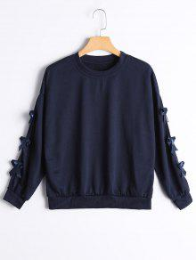 Bowknot Embellished Drop Shoulder Tee - Purplish Blue Xl