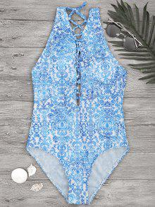 Printed Backless Lace Up One Piece Swimsuit - Blue And White S