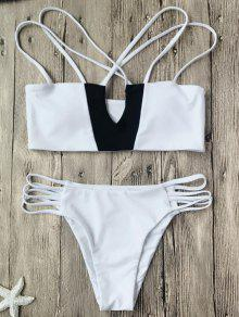 Two Tone Strappy Bikini Top And Bottoms - White And Black L
