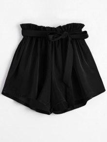 Pantalones Cortos Con Cinturón - Negro