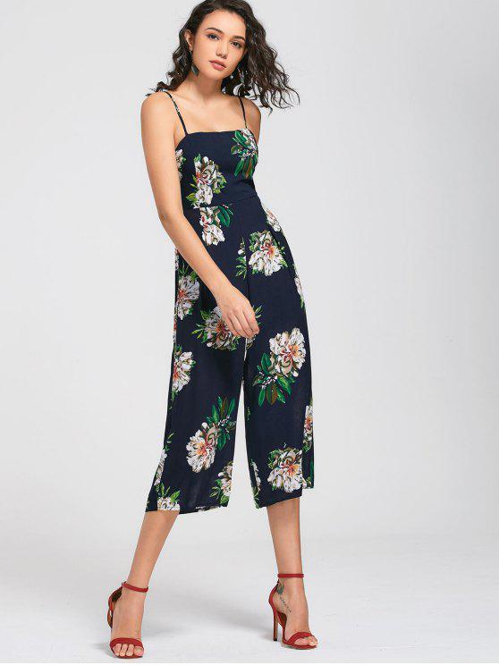 fashion Floral Print Cami Jumpsuit - PURPLISH BLUE XL