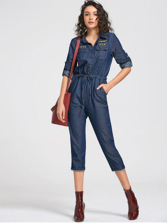 women's Drawstring Patched Pocket Denim Jumpsuit - DEEP BLUE M